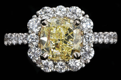 Modern 18K White Gold 2.01 Carat Fancy Yellow Cushion Cut Diamond Halo Engagement Ring GIA Certified - Queen May