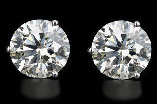 New 14K White Gold 4.16 Carat Round Brilliant Diamond Martini Stud Earrings - Queen May