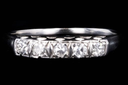 Retro 14K White Gold .15 Carat Single Cut Diamond Band - Queen May