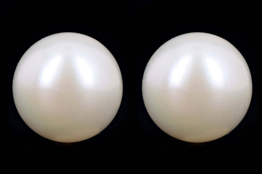 Modern 14K Yellow Gold 8mm Cultured Pearl Stud Earrings - Queen May