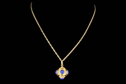 Etruscan Revival 18K Yellow Gold Lapis Lazuli Fob Pendant Necklace - Queen May