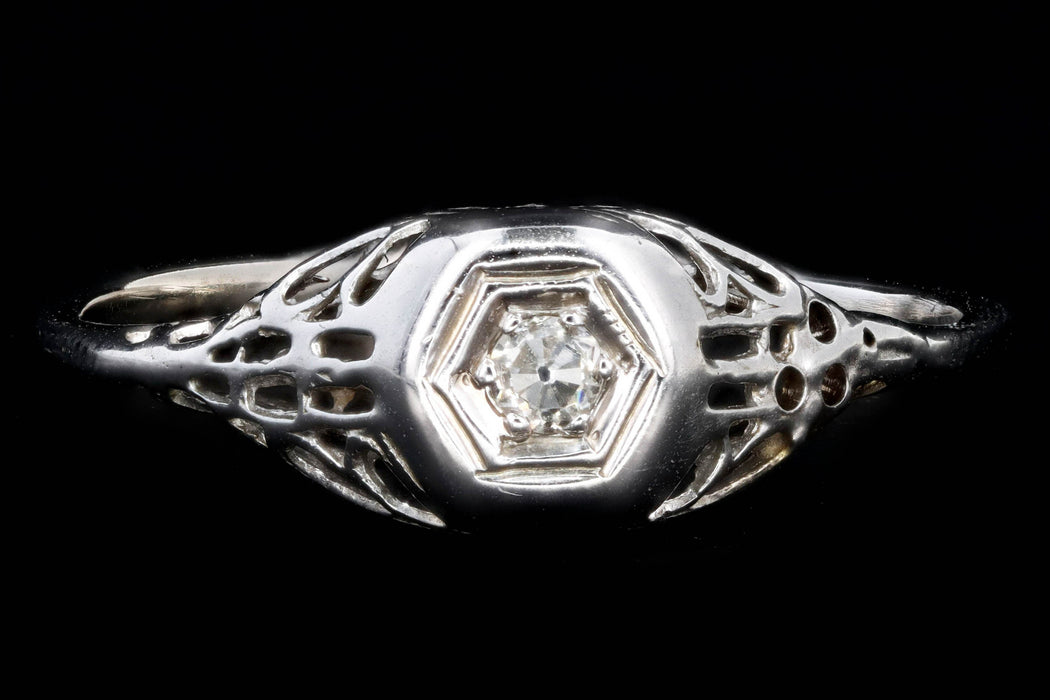 Art Deco 18K White Gold .05 Carat Diamond Engagement Ring - Queen May