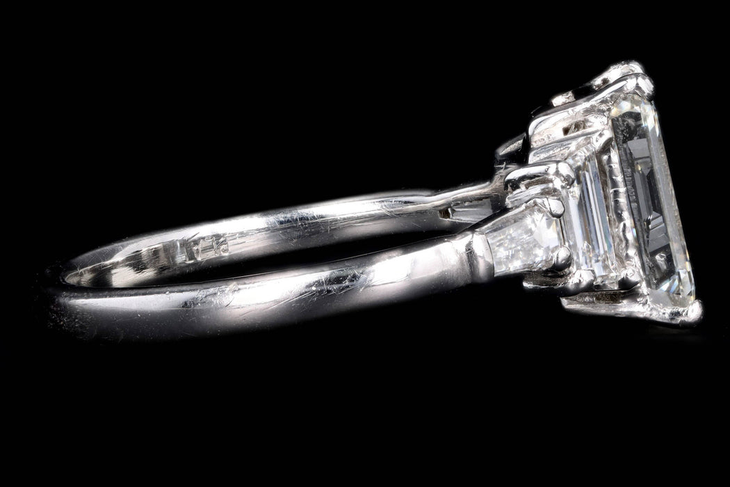 Modern Platinum 2.03 Carat Emerald Cut Diamond Engagement Ring GIA Certified - Queen May
