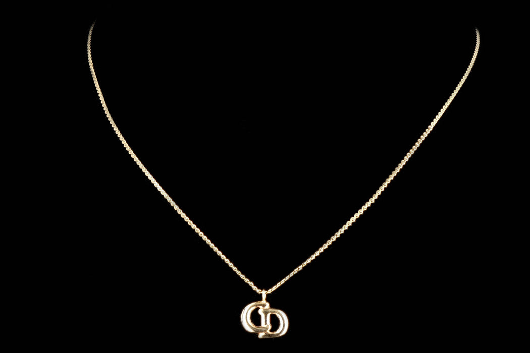 Vintage Dior Logo Pendant Necklace - Queen May