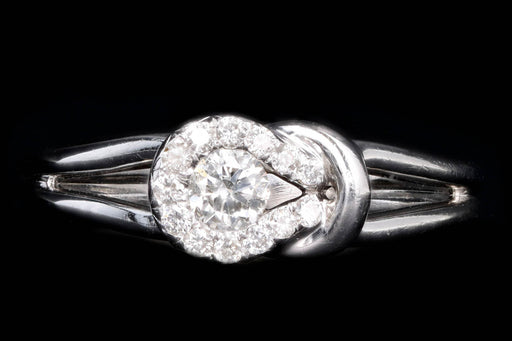 Modern 14K White Gold .15 Carat Round Brilliant Diamond Ring - Queen May