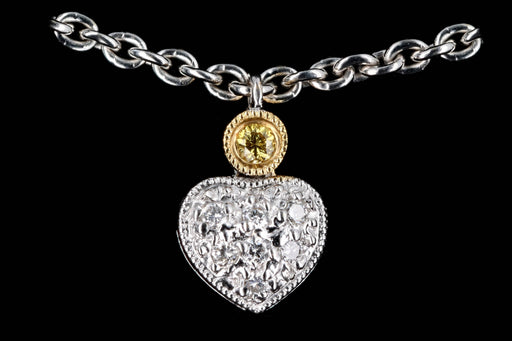 Modern 18K Gold .50 Carat Round Brilliant Diamond Heart Necklace - Queen May