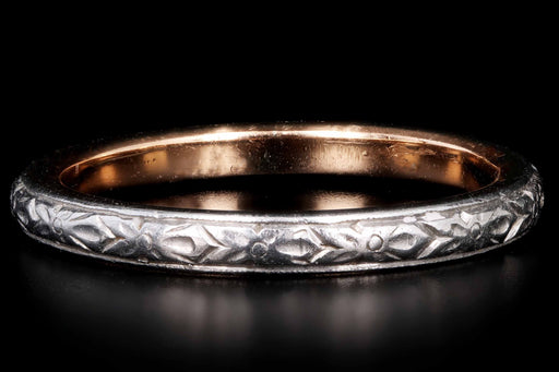 Antique Platinum & 14K Yellow Gold Hand Engraved Floral Motif Wedding Band Size 5.75 - Queen May