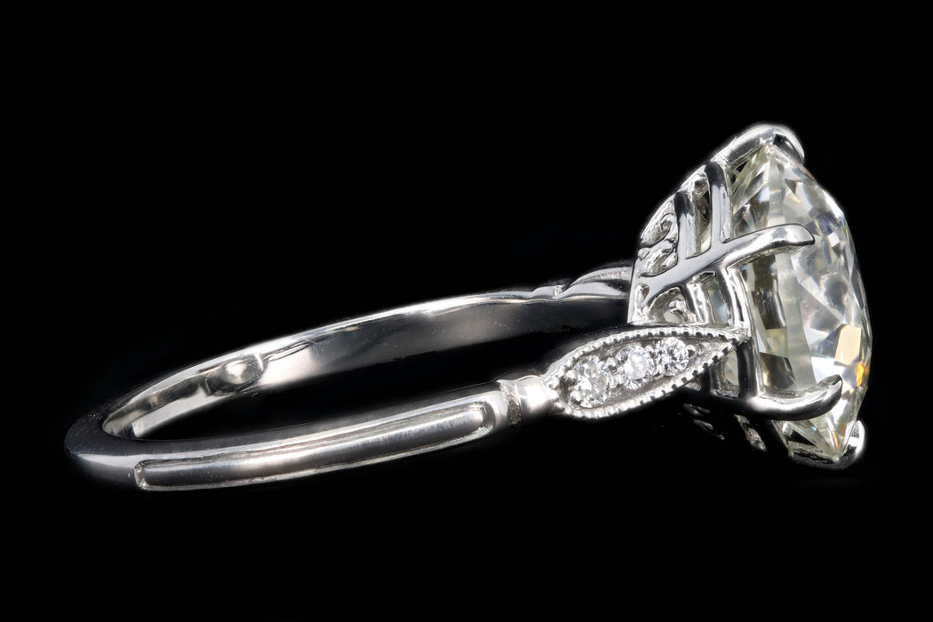 New Vintage Inspired Platinum 3.75 Carat Old European Cut Diamond Engagement Ring GIA Certified - Queen May