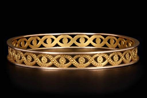 Etruscan Revival 12K Yellow Gold Bangle - Queen May