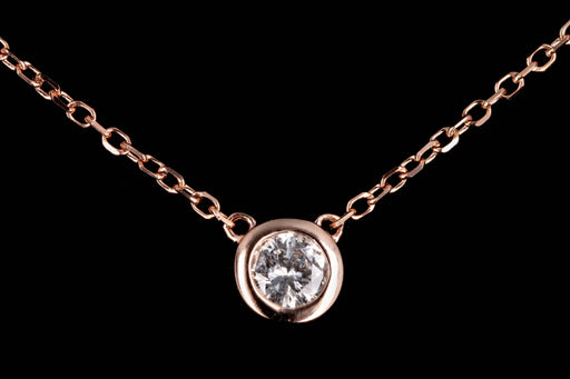 New 14K Gold .10 Carat Round Brilliant Diamond Bezel Set Pendant Necklace - Queen May
