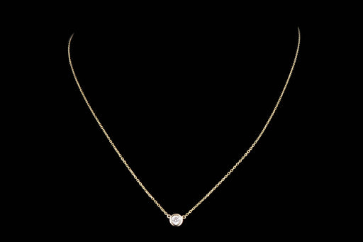 New 14K Gold .15 Carat Round Brilliant Diamond Bezel Set Pendant Necklace - Queen May