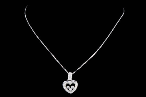 Modern 14K White Gold Floating Diamonds Heart Pendant Necklace - Queen May