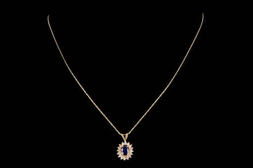 Modern 14K Yellow Gold .70 Carat Natural Sapphire & Diamond Pendant Necklace - Queen May