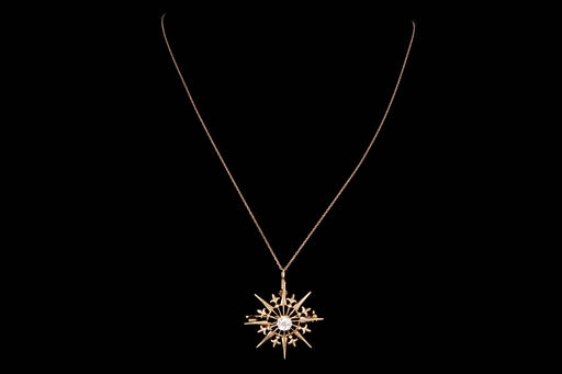 Art Deco 14K Gold .42 Carat Old European Cut Diamond Pendant Necklace - Queen May