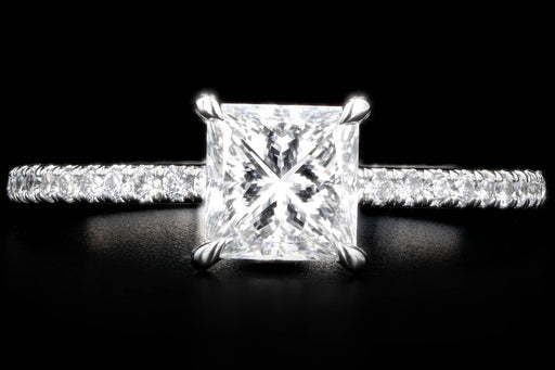 New Platinum 1.01 Carat Princess Cut Diamond Engagement Ring GIA Certified - Queen May