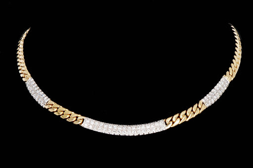 Modern 18K Gold 2 Carat Single Cut Diamond Curb Link Necklace - Queen May