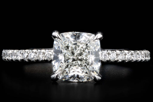 New Platinum 1.60 Carat Cushion Cut Diamond Engagement Ring GIA Certified - Queen May