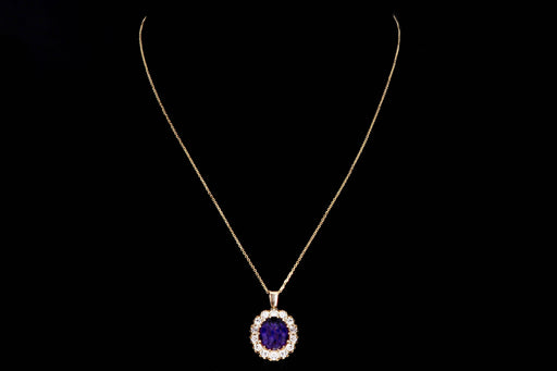 Modern 14K Yellow Gold 3.28 Carat Oval Amethyst & Diamond Halo Pendant Necklace - Queen May