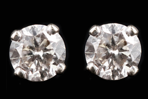 Modern Platinum .25 Carat Round Brilliant Diamond Stud Earrings - Queen May