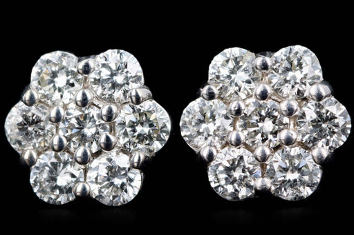 New 14K Gold Diamond Flower Cluster Stud Earrings - Queen May