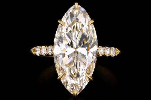 New Vintage Inspired 18K Yellow Gold 4.63 Carat Marquise Cut Diamond Engagement Ring GIA Certified - Queen May