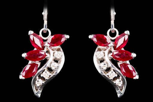 Retro 14K White Gold .75 Carat Natural Ruby & Diamond Earrings - Queen May