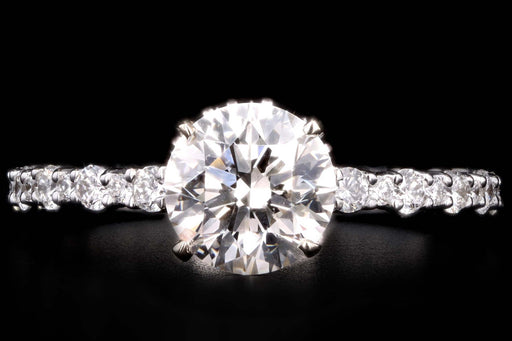 Modern 18K White Gold 1.36 Carat Round Brilliant Diamond Engagement Ring GIA Certified - Queen May
