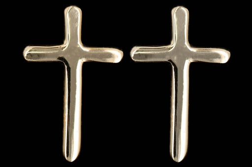 New 14K Yellow Gold Cross Stud Earrings - Queen May
