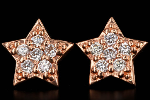 New 14K Gold Diamond Star Stud Earrings - Queen May