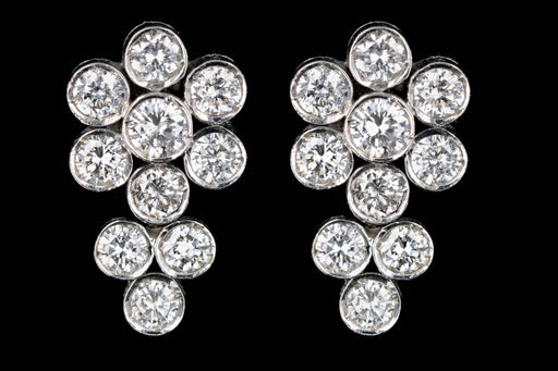 Modern 18K White Gold .92 Carat Round Brilliant Diamond Cluster Earrings - Queen May