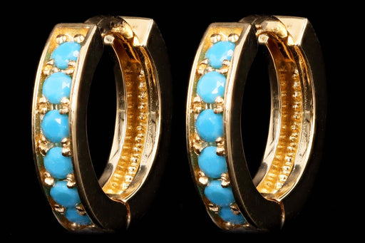 New 14K Yellow Gold Turquoise 10mm Huggie Earrings - Queen May