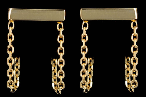 New 14K Yellow Gold Chain Huggie Earrings - Queen May
