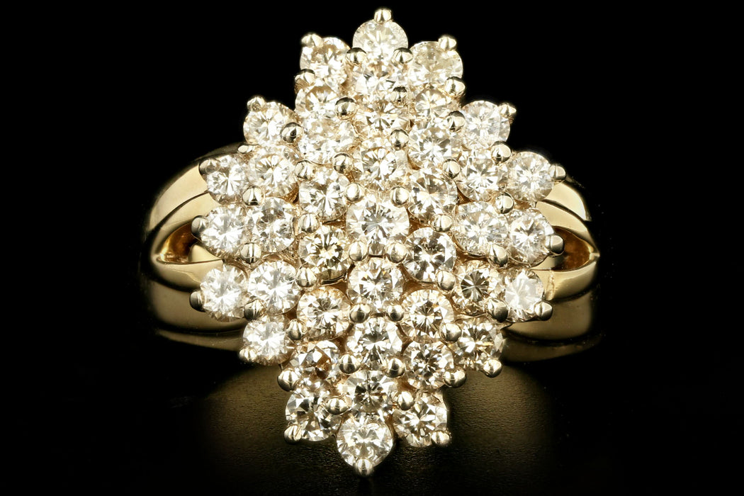 Vintage 14K Yellow Gold 2 Carat Round Brilliant Diamond Cluster Ring - Queen May