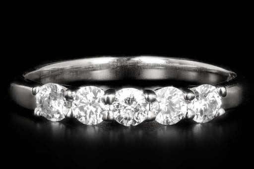 New Platinum .59 Carat Total Weight Diamond Five Stone Band - Queen May