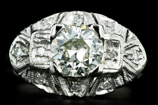 Art Deco 14K White Gold 1 Carat Old European Cut Diamond Engagement Ring - Queen May