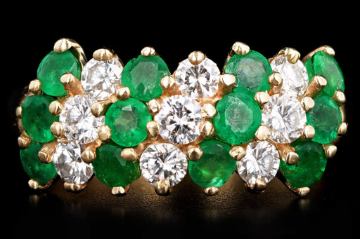 Vintage 14K Yellow Gold Round Brilliant Diamond & Emerald Ring - Queen May