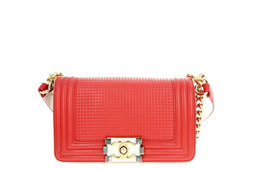 Chanel Boy Flap Bag Cube Embossed Lambskin Small Red - Queen May