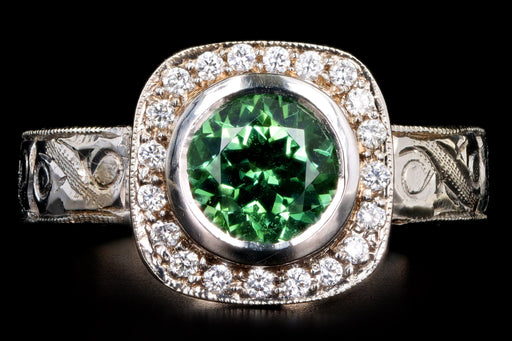 Modern 14K White Gold 1.28 Carat Green Tourmaline & Diamond Halo Ring - Queen May