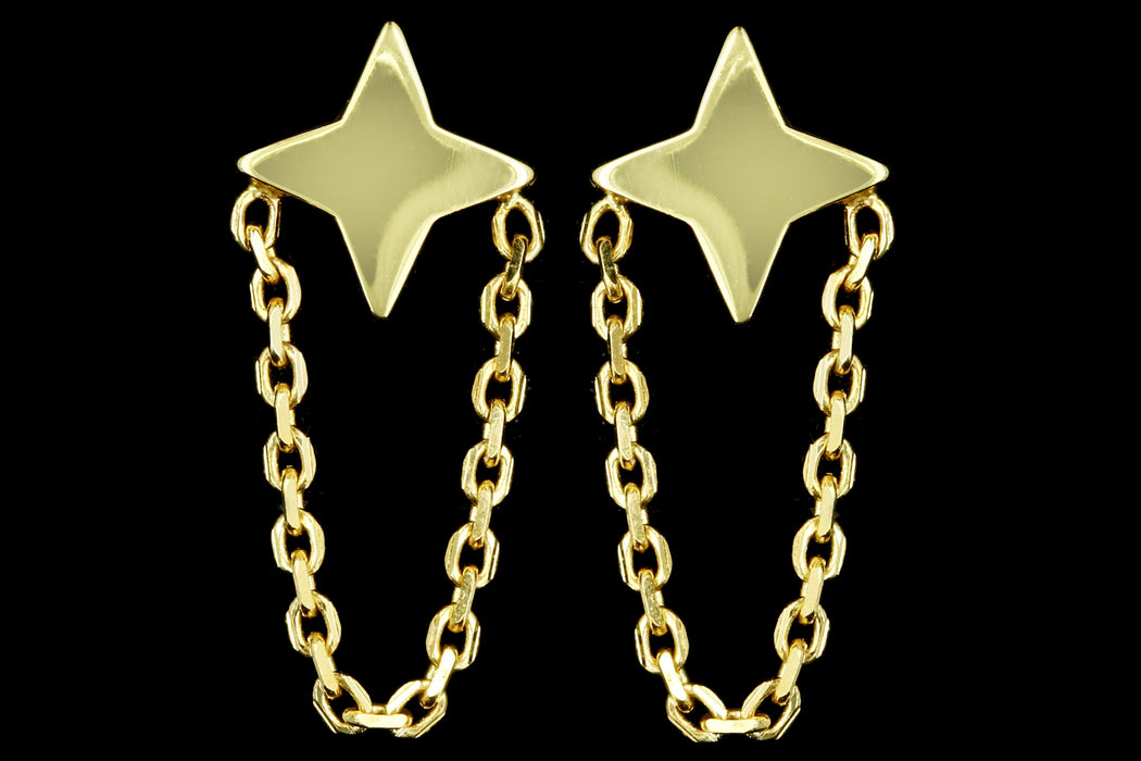 New 14K Yellow Gold Star Chain Stud Earrings - Queen May