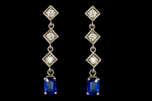 Modern 14K White Gold 1.20 Carat Natural Sapphire & Diamond Earrings - Queen May