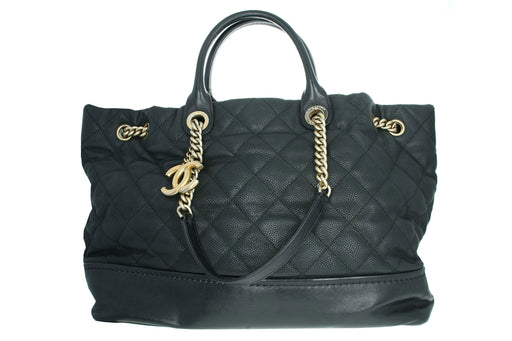 Chanel Caviar Leather Tote Black - Queen May