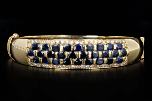 Vintage 18K Yellow Gold Natural Sapphire & Diamond Bangle - Queen May