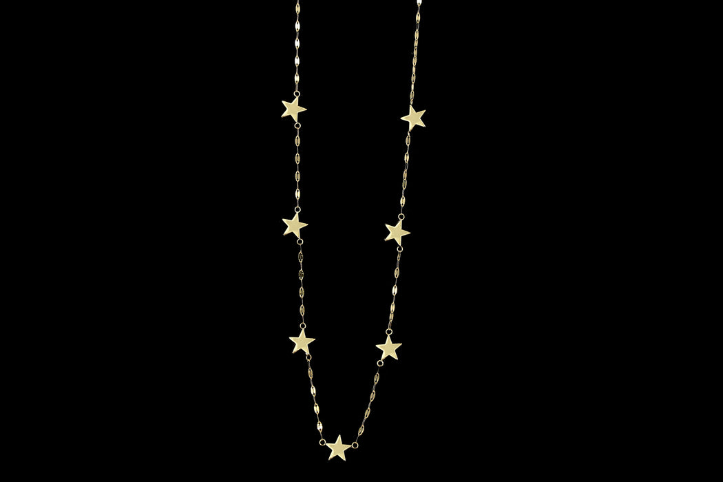 New 14K Yellow Gold Star Station Necklace - Queen May
