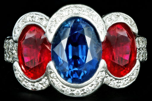 Modern 18K White Gold 2.50 Carat Thai Sapphire & Pigeon Blood Ruby Ring GIA Certified - Queen May