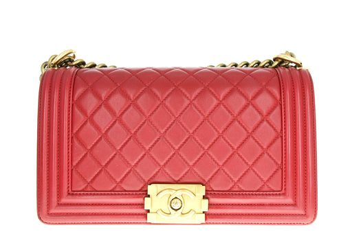 Chanel Medium Boy Bag Red - Queen May