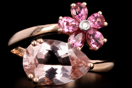 Modern 14K Rose Gold 2.35 Carat Morganite Flower Ring - Queen May