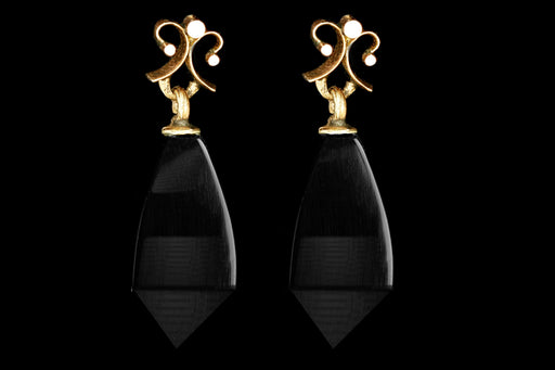 Victorian 10K Yellow Gold Onyx Drop Earrings - Queen May