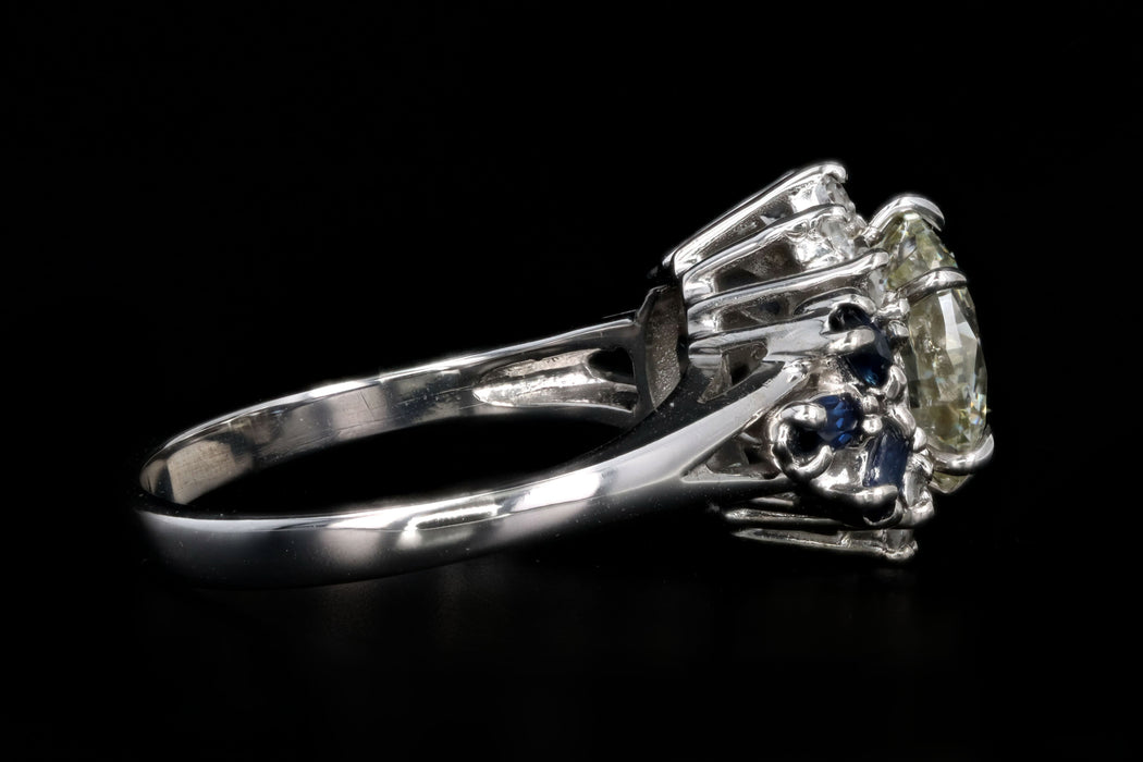 Modern 14K White Gold 2.01 Carat Round Brilliant Diamond & Sapphire Engagement Ring - Queen May