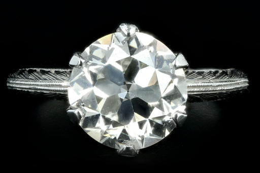 Art Deco Platinum 2.86 Carat Old European Cut Diamond Engagement Ring GIA Certified - Queen May