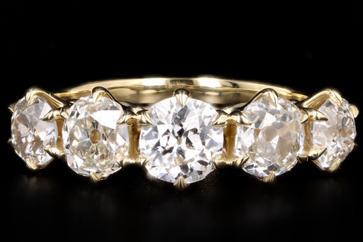 New Vintage Inspired 18K Yellow Gold 2.38 Carat Total Weight Old Mine Cut Diamond Five Stone Band - Queen May
